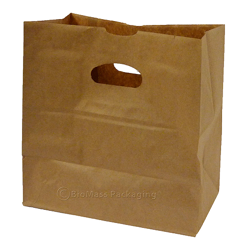 Natural Kraft Shopping Bags with Die-Cut Handle | BioMass Packaging