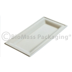 "BagasseWare Diamond Collection 10"" x 5"" Rectangle Plate 357-DP88, BioMass Packaging"