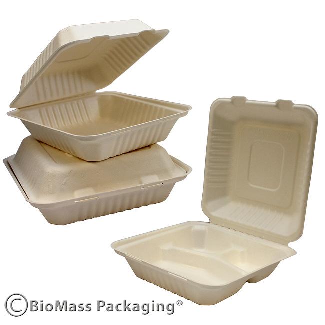 BagasseWareHingedPLA BioMass Packaging Sustainable Foodservice