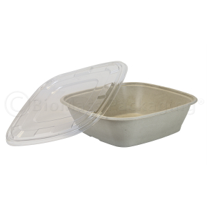 240-oz BagasseWare Square Catering Bowl with Lid