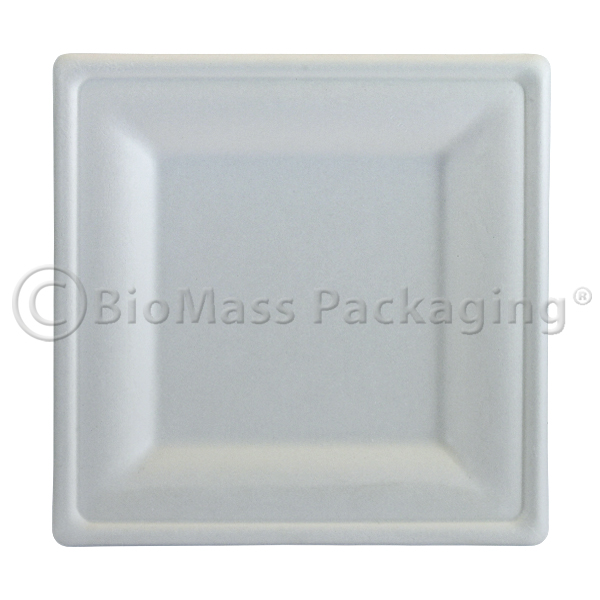 "BagasseWare Diamond Collection 10"" Square Plate 357-DP10 BioMass Packaging"