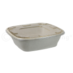 240-oz BagasseWare Square Catering Bowl with Lid on